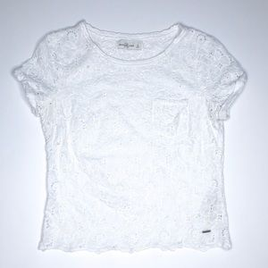 Abercrombie & Fitch Lace Embroidered Flower Top